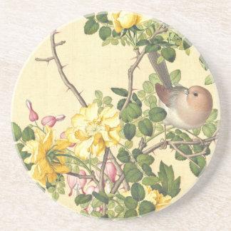 Asian Bird Roses Heart Flowers Coaster