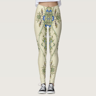 Asian Birds Bamboo Floral All Over Print Leggings