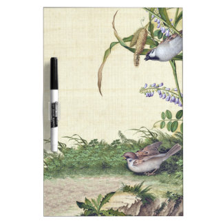 Asian Birds Wildlife Flowers Dry Erase Board