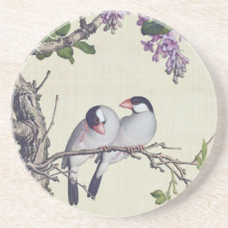 Asian Birds Wisteria Flowers Animals Coaster