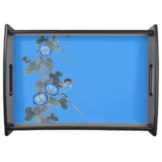Asian Blue Morning Glory Flowers Bird Serving Tray