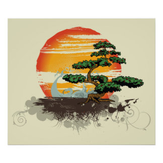 Asian bonsai and sun custom print poster