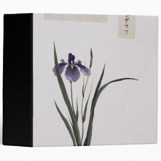 Asian Botanical Iris Flowers Watercolor Binder