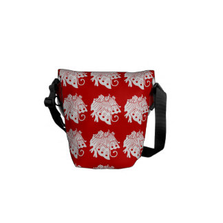 Asian Butterfly Japanese Kamon Design Courier Bag