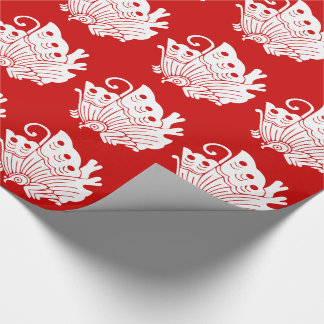 Asian Butterfly Japanese Kamon Design Wrapping Paper