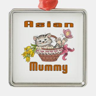 Asian Cat Mom Silver-Colored Square Ornament