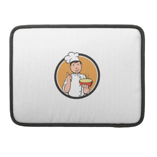 Asian Chef Noodle Bowl Circle Cartoon Sleeves For MacBooks
