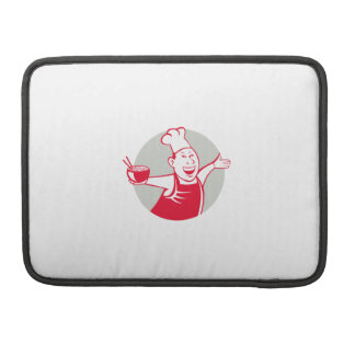 Asian Chef Serving Noodle Bowl Dancing Circle Cart Sleeves For MacBook Pro