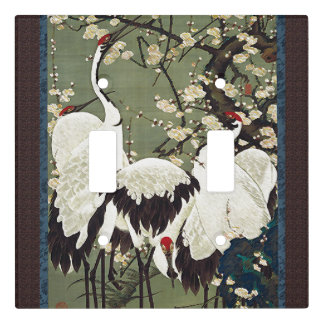 Asian Crane Bird Animals Floral Light Switch Cover