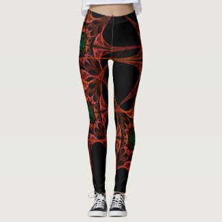 Asian design black and Red Leggings