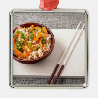 Asian dish of rice noodle and vegetable seasonings Silver-Colored square ornament