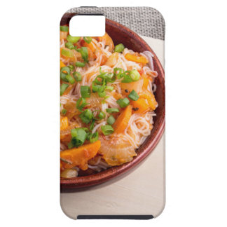 Asian dish of rice noodles in a small wooden bowl iPhone 5 case