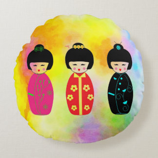 Asian Dolls Round Pillow
