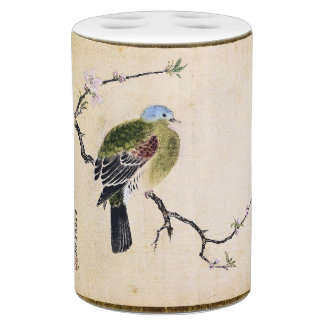 Asian Dove Bird Wildlife Peach Flowers Bath Set