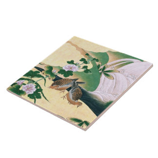 Asian Dove Birds Flowers Waterfall Tile