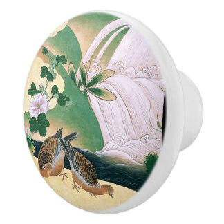 Asian Dove Birds Waterfall River Floral Knob