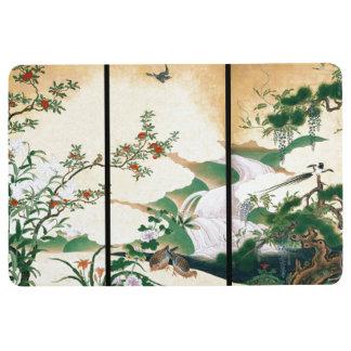 Asian Dove Birds Wisteria Roses Flowers Floor Mat