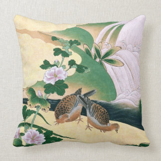 Asian Doves Pink Flowers Waterfall River Pillow
