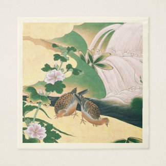Asian Doves Waterfall Flowers Stream Paper Napkins