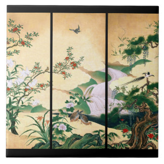 Asian Doves Wisteria Roses Flowers Waterfall Tile