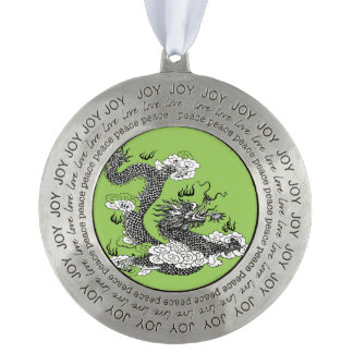 Asian Dragon Round Pewter Ornament