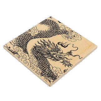 Asian Dragon Wood Coaster