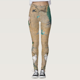 Asian  Egret Birds Flowers All Over Print Legging