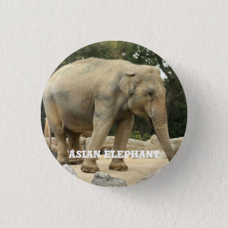 Asian Elephant 1 Inch Round Button