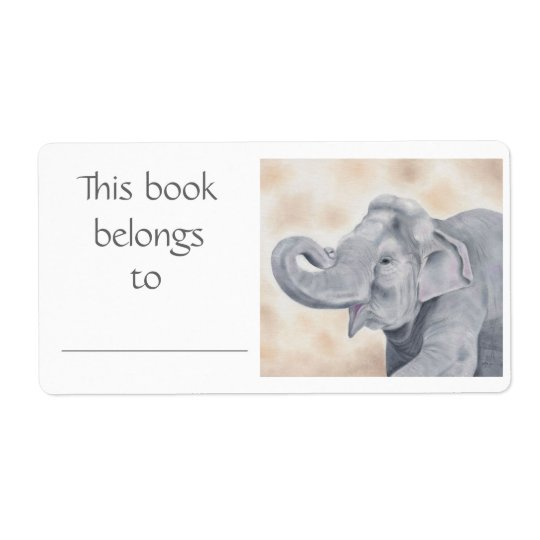 Asian Elephant book label Shipping Label