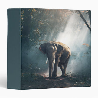 Asian Elephant in a Sunlit Forest Clearing Binder