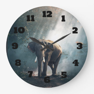 Asian Elephant in a Sunlit Forest Clearing Large Clock