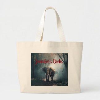Asian Elephant in a Sunlit Forest Clearing Large Tote Bag