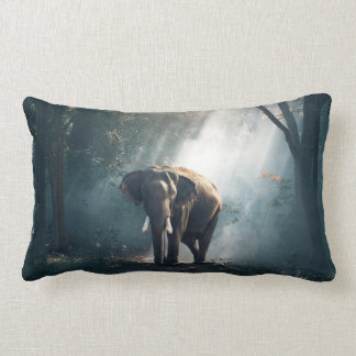 Asian Elephant in a Sunlit Forest Clearing Lumbar Pillow