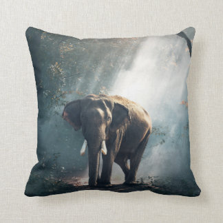 Asian Elephant in a Sunlit Forest Clearing Throw Pillow