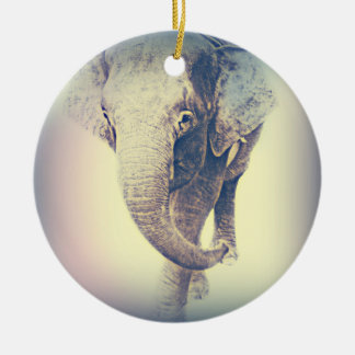Asian Elephant in vintage colors Ceramic Ornament