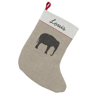 Asian Elephant Silhouette | Faux Linen Small Christmas Stocking