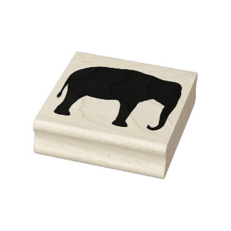 Asian Elephant Silhouette Rubber Stamp