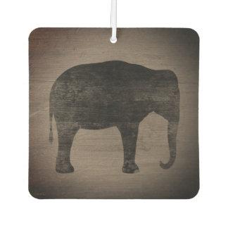 Asian Elephant Silhouette Rustic Style Car Air Freshener
