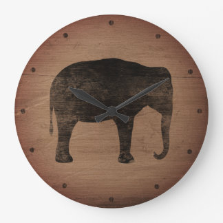 Asian Elephant Silhouette Rustic Style Large Clock