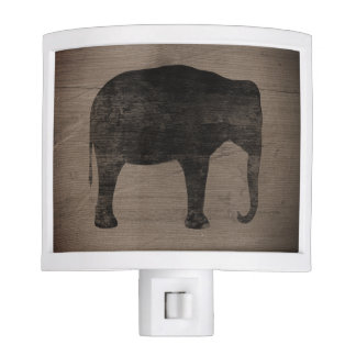 Asian Elephant Silhouette Rustic Style Nite Lites