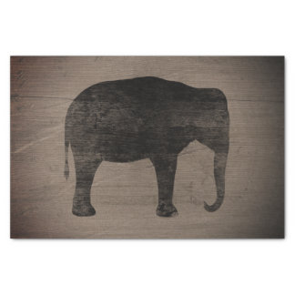 Asian Elephant Silhouette Rustic Style Tissue Paper