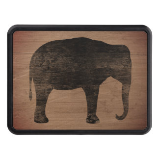Asian Elephant Silhouette Rustic Style Trailer Hitch Cover
