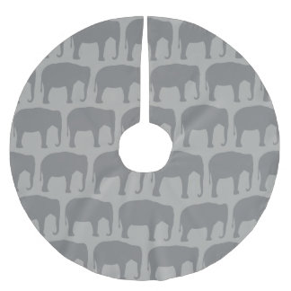 Asian Elephant Silhouettes Pattern Brushed Polyester Tree Skirt