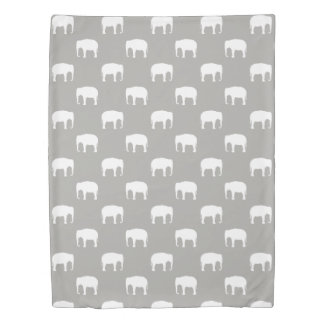 Asian Elephant Silhouettes Pattern Duvet Cover