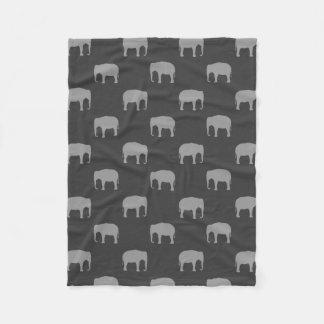 Asian Elephant Silhouettes Pattern Fleece Blanket