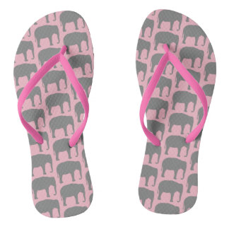 Asian Elephant Silhouettes Pattern Flip Flops
