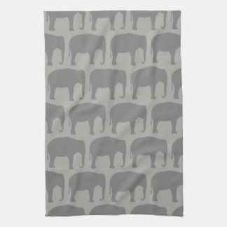 Asian Elephant Silhouettes Pattern Kitchen Towel