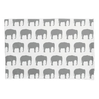 Asian Elephant Silhouettes Pattern Pillowcase