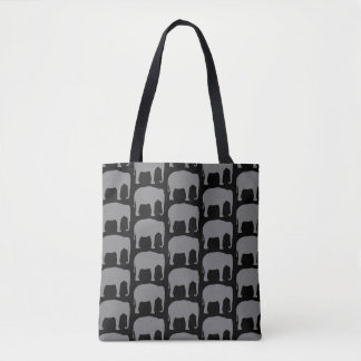 Asian Elephant Silhouettes Pattern Tote Bag