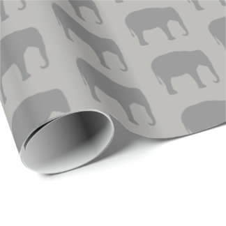 Asian Elephant Silhouettes Pattern Wrapping Paper